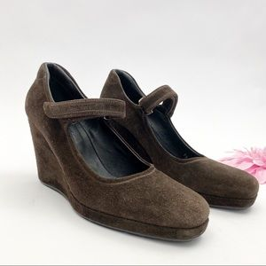 Prada Suede Leather Mary Jane Wedge Shoes: Brown